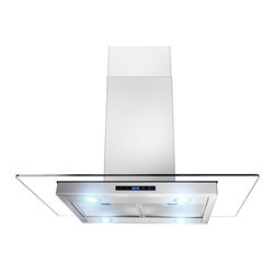 "AKDY - AKDY AG-ZCI Euro Stainless Steel Island Mount Range Hood, 30"" - This AKDY ZCI features a gently curving glass canopy which creates a dramatic contemporary appearance and an open, airy feel. It also has touch panel controls with an LED speed indicator to clearly show you what setting it is on. This range hood will bring decorative style instantly to your kitchen."