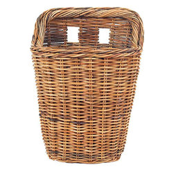 """Origin Crafts - French country rattan wall basket 20"""" - French Country Wall Basket 20"""" A wall basket small enough for a front door but spacious enough to hold an 8"""" plant. Very sturdy with two cut-outs in the back for easy hanging. Dimensions (in):15""""L x 10""""W x 20""""H By Mainly Baskets - Mainly Baskets is a wholesale importer of basket accessories. The"""