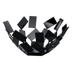 """Alessi - Alessi """"La Stanza Dello Scirocco"""" Fruit Bowl, Black - The shapes created were derived from the composition of a rectangular module in stainless steel, steel colored with epoxy resin, black or steel colored with epoxy resin, white."""