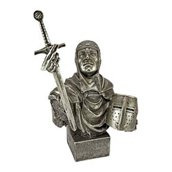 EttansPalace - Gothic Knight Statue - Raise the sword in victory along with this medieval knight sculpture, resplendent from his armored helmet to the triumphant expression on his battle-worn face. Cast in quality designer resin, our brave, -exclusive knight figurine is finished in faux bronze and set atop a museum mount for regal display.