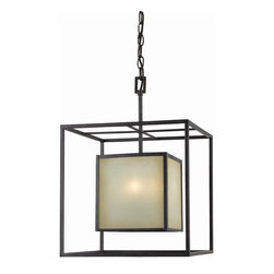 World Imports - Hilden 4 Light chandelier in Warm Mahogany Fi - Manufacturer SKU: WI411555. Bulbs not included. Clean geometric squares with tea stained glass. Aged Bronze finish. Hilden Collection. 4 Lights. Power: 60w. Type of bulb: Candelabra. Warm Mahogany finish. 14 in. W x 20 in. H (18.72 lbs.)