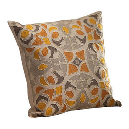Zodax - Zodax Oujda Embroidered Cotton Throw Pillow - Zodax - Throw Pillows - IN5137 - Oujda Embroidered Cotton Throw Pillow