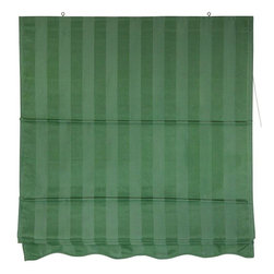 Oriental Furniture - Striped Roman Shades - Green - (24 in. x 72 in.) - Simple, attractive window blinds, easy to install and to operate. The advantage of Roman style window treatments is that they are installed on the wood frame around the window, not the inside of the window frame.