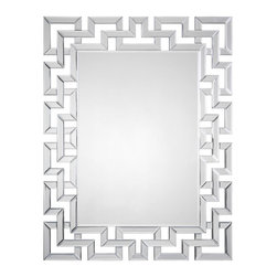 Mirrored Greek Key Mirror - The classic Greek key pattern is made into a beautiful mirror! Hang this in your dining room above the buffet, in the entryway or in a bathroom.