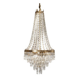 "The Gallery - FRENCH EMPIRE CRYSTAL FRENCH EMPIRE CRYSTAL CHANDELIER H30"" x W17"" - 100% CRYSTAL CHANDELIER, this chandelier is characteristic of the grand chandeliers which decorated the finest Chateaux and Palaces across Europe and reflects a time of class and elegance which is sure to lend a special atmosphere in every home. This item comes with 18 inches of chain. SIZE WD 17X HT 30 4 LIGHTS SHIPPING 20.00 Lightbulbs not included.Assembly Required."