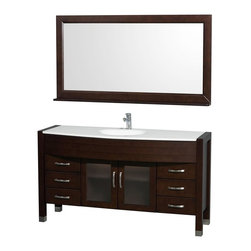 Wyndham Collection - Contemporary Bathroom Vanity Set - Includes sink, white man-made stone top, matching mirror, drain and P-traps for easy assembly. Faucet not included. White integral sink. Unique and striking contemporary design. Two doors and six drawers. Fully extending side-mount drawer slides. Deep doweled drawers. Doors with fully framed glass inserts and back paneling. Soft-close concealed door hinges. Single-hole faucet mount. Metal hardware with brushed chrome finish. Plenty of storage space. Brushed steel leg accents. Practical floor-standing design. Twelve-stage wood preparation, sanding, painting and finishing process. Highly water-resistant low V.O.C. sealed finish. Pre-drilled for single-hole faucet. Top thickness: 0.75 in.. Warranty: Two years limited. Made from environmentally friendly, zero emissions solid oak hardwood. Espresso finish. Minimal assembly required. Door: 13.75 in. W x 18 in. H. Drawer: 13.75 in. W x 6 in. H. Mirror shelf: 5 in. deep. Mirror: 60 in. W x 32 in. H (58 lbs.). Vanity: 60 in. W x 22 in. D x 33.5 in. H (150 lbs.). Handling Instructions. Installation Instructions - Vanity