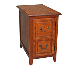 Leick Furniture - Leick Furniture Shaker Cabinet End Table in Medium Oak - Leick Furniture - End Tables - 10030MED - This is a perfect end table with its slim 15 inch width to fit into small spaces with ample enclosed storage. Quality construction with a durable solid ash wood table top and hand applied multi-step medium oak finish this table was meant to be used. The adjustable shelf behind raised panel door offers a versatile storage space for laptops magazine and more!