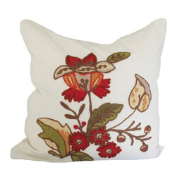 Xia Home Fashions - Floral Crewel Feather Filled Pillow, 18x18 - Decorative floral crewel embroidery  throw pillow adds a splash of texture and color to your room! Wipe clean with damp cloth.