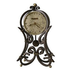HOWARD MILLER - Howard Miller Vercelli Wrought Iron Mantel Clock - This wrought iron mantel clock is finished in aged iron with antique gold accents modeled after our very popular 615-004, Vercelli floor clock.