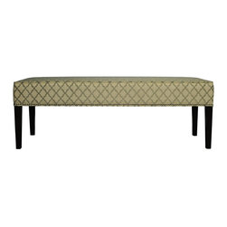 Sole Designs - Diane 'Eddy' Smoke Bench - Sit in style with this understated yet elegant upholstered contemporary bench. Ideal for extra seating in a bedroom, this bench features a neutral beige geometric pattern, neatly piped edges and a border of antique-style nail heads for contrast.