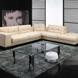 Fashionable Covered in All Leather Sectional - Features: