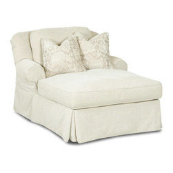 Klaussner - Klaussner Charleston Chaise Lounge in Opulence Pumice - Casual style is the hallmark of the Charleston collection with its simple clean lines and smart tailoring. Details include welt tailoring, two over two design, scatter back pillows, tailored skirt, welt details and rolled arms.