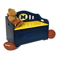 Fan Creations - University of Michigan NCAA Logo Storage Bench - This storage bench has carved details on the front, and carved logo mounted on the back. The product contains two safety-spring lifts on each side to prevent the lid from slamming shut on little fingers. It's perfect for your Man Cave, Game Room, Office, or anywhere else you want to show love for your favorite team.