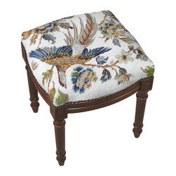 Blue Bird Design On White With Nail Heads Needlepoint Footstool - Great for traditional, French Country, shabby chic or almost any decor. These are small so they are great for tight spaces.