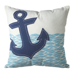 Drop Anchor Throw Pillow - Drop anchor and get comfortable. This nautical pillow adds seaside whimsy to any d̩cor, whether you toss it on a couch, lounge chair, or bed.