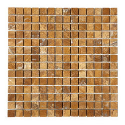 "Tilesbay.com - 50 Pieces of 0.78x0.78 Polished Autumn Gold Mosaic Marble Tile - Autumn Gold 0.78""x0.78"" on a 12x12 sheet Polished marble mosaic is an organic stone with hues of soft pinks and golds with darker veins. It is recommended for use in both residential and commercial projects including interior flooring and walls."