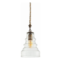 Arteriors - Wesley Pendant - Whether you love industrial styles, vintage farmhouses, rustic cottages or natural contemporary styles, you just know you've got a spot for one or four of these. The clear, ribbed vintage glass shade hangs on a natural jute rope cord for a look that's light and simple yet full of character. Hang one over a distressed wood desk or table, or several over a kitchen island or bar.