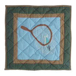 Patch Quilts - Fly Fishing Toss Pillow 16 x 16 Inch - Decorative applique Quilted Pillow Bed and Home Ensembles and Bedding items from Patch Magic   - Machine washable  - Line or Flat dry only Patch Quilts - TPFFSH