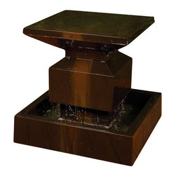 "Alaster Outdoor Fountain, Sierra - This post-modern masterpiece has a subtle flow on top with a great noise of water flowing on the bottom. Tip on this fountain is to add a small amount of river rock on top to look at the top as if it was glass. Also available with an 18"" sphere on top, see Alaster Outdoor Fountain with Ball."