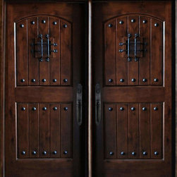 "Global Entry Doors - Maricopa Double Doors - This door unit comes in Knotty Alder wood. It is 61 1/2"" wide (two 30"" doors) or 73 1/2"" wide by 81"" tall and has a 5 1/4"" jamb. The door is pre-finished, pre-hung, comes with interior casing and exterior brick molding. The glass is dual glazed, clear tempered. All you need to buy is Entry Door hardware to complete your installation. The door is available with a right hand or left hand interior swing. Entry hardware not included."