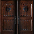 """BGW - Maricopa Double Doors - This door unit comes in Knotty Alder wood. It is 61 1/2"""" wide (two 30"""" doors) by 81"""" tall and has a 5 1/4"""" jamb. The door is pre-finished, pre-hung, comes with interior casing and exterior brick molding. The glass is dual glazed, clear tempered. All you need to buy is Entry Door hardware to complete your installation. The door is available with a right hand or left hand interior swing. Entry hardware not included."""