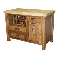 Chelsea Home Furniture - Chelsea Home Sandra Kitchen Island in Rustic Hickory - The feature-full Sandra Kitchen Island will be the life of your party! It provides a wine storage area to hold up to six bottles and even has room for stemware. This convenient island will allow for simple serving of guests, now you can enjoy your party as much as your guests will! Chelsea Home Furniture proudly offers handcrafted American made heirloom quality furniture, custom made for you. What makes heirloom quality furniture? It's knowing how to turn a house into a home. It's clean lines, ingenuity and impeccable construction derived from solid woods, not veneers or printed finishes over composites or wood products _ the best nature has to offer. It's creating memories. It's ensuring the furniture you buy today will still be the same 100 years from now! Every piece of furniture in our collection is built by expert furniture artisans with a standard of superiority that is unmatched by mass-produced composite materials imported from Asia or produced domestically. This rare standard is evident through our use of the finest materials available, such as locally grown hardwoods of many varieties, and pine, which make our products durable and long lasting. Many pieces are signed by the craftsman that produces them, as these artisans are proud of the work they do! These American made pieces are built with mastery, using mortise-and-tenon joints that have been used by woodworkers for thousands of years. In addition, our craftsmen use tongue-in-groove construction, and screws instead of nails during assembly and dovetailing _both painstaking techniques that are hard to come by in today's marketplace. And with a wide array of stains available, you can create an original piece of furniture that not only matches your living space, but your personality. So adorn your home with a piece of furniture that will be future history, an investment that will last a lifetime.