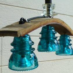 Wine Barrel Stave Insulator Light - Railroadware - Wine Barrel stave insulator light oak chandelier