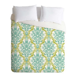 DENY Designs - DENY Designs Rebekah Ginda Design Lovely Damask Duvet Cover - Lightweight - Turn your basic, boring down comforter into the super stylish focal point of your bedroom. Our Lightweight Duvet is made from an ultra soft, lightweight woven polyester, ivory-colored top with a 100% polyester, ivory-colored bottom. They include a hidden zipper with interior corner ties to secure your comforter. It is comfy, fade-resistant, machine washable and custom printed for each and every customer. If you're looking for a heavier duvet option, be sure to check out our Luxe Duvets!