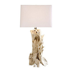 Arteriors Home - Arteriors Home Bodega Distressed White Driftwood Table Lamp - Arteriors Home 154 - Arteriors Home 15408-394 - The Bodega Distressed Driftwood Table Lamp by Arteriors injects a beach atmosphere into any room it is placed. It features a column of driftwood pieces that have been given a distressed white finish, and is topped off with a white linen shade and diffuser.
