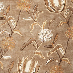 """Kas - Wildflowers Silver Florence Floral 3'6"""" x 5'6"""" Kas Rug  by RugLots - Our Florence collection will immediately catch your attention with the texture and warmth apparent in each design. Hand-tufted Wool and viscose are blended together to create a rich feel, while the added loop construction adds interest and dimension. Each beautiful design is both modern and relaxed in its nature, reminding ourselves to take the time to truly enjoy the environment we live in."""