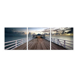 Elementem - Australian Pier Wall Art | Elementem - Design by Elementem Photography. Australian Pier gives the impression of walking off into the distance. The expansive view of the Australian Pier with its muted greys and blues add a splash of tranquility to any wall in the home or public space. Australian Pier is digitally printed on vinyl then mounted onto solid wooden MDF frames and covered with a thin layer of laminate that allows the print to be easily cleaned with Windex and water. All the wall hanging materials needed for installation are provided. Suitable for contract projects. Available in three size formats.Elementem Photography is a proud member of 1 Percent for the Planet, a group of businesses that have committed to donating 1 percent of their sales towards environmental causes.