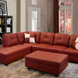 None - Delma 3-piece Red Faux Leather Furniture Set - Upgrade your living space with this affordable,modern style faux leather sectional sofa set. Extra storage in ottoman makes it easy to organize living room essentials.