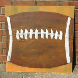 Football Wood Panel Art Sign, Large by Step On It Art - I like this painting. It's large (24-by-24 inches); it's simple; and it's handmade. But the best part is that the artist can customize the background color to your liking or add a name or phrase if you want.