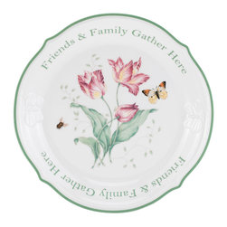 Lenox - Lenox Butterfly Meadow Sentiment Dessert Platter - At the center of this Butterfly Meadow Sentiment Dessert Platter by Lenox is a gorgeous floral design, complete with a butterfly and bumblebee, that evokes the beauty of butterfly meadows.
