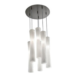 """EviStyle - EviStyle Frise SO6 Suspension Lamp - The Frise SO6 Suspension Lamp was designed by Andrea Lazzari for EviStyle. Hourglass shape with silk white rippled diffuser on a pendant light creates an Euro, artistic take on modern design from the Frise collection by Andrea Lazzari. This exclusive light is chic with a touch of flair that will work in any contemporary style room. Lamp collection with metal frame in nickel satin finish, gold satin finish or copper satin finish; hand-made glass diffuser available in the following colours: silk white, black, gold, silver and metallized copper.   Product description: The Frise SO6 Suspension Lamp was designed by Andrea Lazzari for EviStyle. Hourglass shape with silk white rippled diffuser on a pendant light creates an Euro, artistic take on modern design from the Frise collection by Andrea Lazzari. This exclusive light is chic with a touch of flair that will work in any contemporary style room.  Lamp collection with metal frame in nickel satin finish, gold satin finish or copper satin finish; hand-made glass diffuser available in the following colours: silk white, black, gold, silver and metallized copper. Details:                         Manufacturer:            EviStyle                            Designer:                        Andrea Lazzari                                         Made in:            Italy                            Dimensions:                        Small:Height: 11.8"""" (30 cm) X Diameter: 2.8"""" (7 cm) X Canopy Diameter:15.8"""" (40 cm)             Large:Height: 19.1"""" (48.5 cm) X Diameter: 3.4"""" (8.5 cm) X Canopy Diameter:15.8"""" (40 cm)                                         Light bulb:                        6 x G9 Max 42W Halogen                                         Material            Aluminium"""