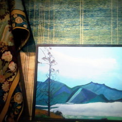 Press and Recs - Painting by Kenneth Burns, displayed with a Persian gabbeh modern rug in creams and blues and a gorgeous tapestry with a natural garden scene.