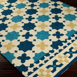 Surya Storm 6 Hand Hooked Polypropylene Rug - The classic style of the Surya Storm 6 SOM7722 Hand Hooked Polypropylene Rug will make this floor covering welcome anywhere it's placed. This rug is elegant for indoor use, rugged enough for outdoor use. The rugged, synthetic fibers of this rug mean there's no need to worry about spilling food or drink on it. Simply hose this rug off, and it's clean. Plus it's mold- and mildew-resistant. Rug hooking is both an art and a craft that began in the early 19th century; this type of rug is made by pulling loops of material through a woven base. Made in China, each rug is hand-hooked with 100 percent polypropylene.Note: Due to individual computer monitor settings, actual colors may vary slightly from those you see on your screen.About Surya RugsSince 1976 Surya has established itself as one of India's leading producers of fine hand-knotted, hand-tufted, and flat-woven rugs. Their products are sold in the U.S.A. at respected department and specialty stores. The company is known for its quality, value, dedication, and innovation. This includes responsibility for the entire process - spinning, dyeing, weaving, and finishing. Surya prides itself on using the best raw material available for the production of their rugs. They are proud members of Wools of New Zealand. From design concept through production, a Surya family member is involved, making sure that the highest standards are being met at each level. Surya works with top designers and constantly updates their designs and color palettes to match and set the trends in design and fashion for the home. Surya always means a fine choice in rugs.