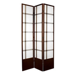 Oriental Furniture - 7 ft. Tall Double Cross Shoji Screen - Walnut - 3 Panels - Inspired by traditional Japanese design and updated for the modern home, this extra tall Shoji rice paper room divider is a beautiful way to partition a room, add some privacy, or complement your home decor. Shoji rice paper has been used in Japanese homes for over a thousand years due to its beauty, translucence, and light weight. This screen combines this remarkable material with a stylish spruce frame to create an elegant folding screen suitable for any home or business.