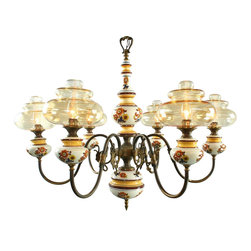 EuroLux Home - Consigned Vintage French Country Chandelier Ceramic & Glass Globes - Product Details