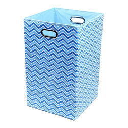 Modern Littles - Sky Zig Zag Folding Laundry Basket - Keep laundry tidy, organized and add a pop of colorful decor to a room with this folding laundry bin. Perfect for the bathroom, closet or laundry room, it folds flat when not in use for easy storage, and the lightweight design features handles for effortless carrying.