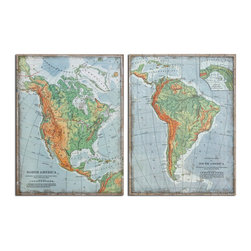 Uttermost - The Americas Set of 2 Vintage Art - These images are printed on burlap fabric then framed with wooden stretching bars.