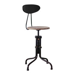 V19R-B Adjustable Stool with Backrest, Weathered Oak, Set of 2