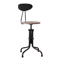 Nuevo Living - V19R-B Adjustable Stool with Backrest, Weathered Oak, Set of 2 - In today's disposable world, you're among those who still appreciate quality design that's built to last. A case in point: This impeccably constructed cast iron stool with a backrest for comfort and height adjustment mechanism.