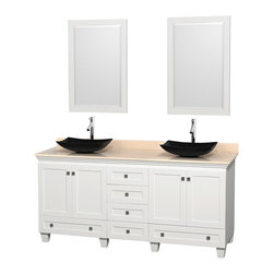 "Wyndham Collection - 72"" Acclaim White Double Vanity w/ Ivory Marble Top & Arista Black Granite Sink - Sublimely linking traditional and modern design aesthetics, and part of the exclusive Wyndham Collection Designer Series by Christopher Grubb, the Acclaim Vanity is at home in almost every bathroom decor. This solid oak vanity blends the simple lines of traditional design with modern elements like beautiful overmount sinks and brushed chrome hardware, resulting in a timeless piece of bathroom furniture. The Acclaim comes with a White Carrera or Ivory marble counter, a choice of sinks, and matching mirrors. Featuring soft close door hinges and drawer glides, you'll never hear a noisy door again! Meticulously finished with brushed chrome hardware, the attention to detail on this beautiful vanity is second to none and is sure to be envy of your friends and neighbors"