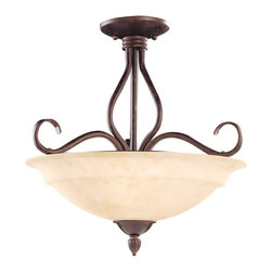 Savoy House - Savoy House Bryce Semi-Flush Mount Ceiling Fixture in Sunset Bronze - Shown in picture: Designed by Karyl Pierce Paxton; The Bryce collection delights in a Sunset Bronze finish with detailed iron leaf ornamentation on the wall sconces. The soft curls and Cream Faux Alabaster Glass create that clean classic look you are looking for your home.