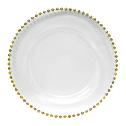 Jay Import Co. - Beaded Charger Plate, Gold - Play Mary Queen of Scots any night of the week at your very own dinner table with this subtly royal charger plate. The beaded rim, which you can color coordinate with your tablecloth, adds an elegant touch to any setting.