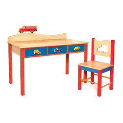 """Boys Like Trucks Desk/Chair set, Natural - Our child-size Truck desk and chair set has 3 drawers and lots of desktop space. Set is made in solid hardwood finished with natural and colored stains. Chair is solid hardwood and chair back has a truck shaped cut-out.   Includes 3 Truck knobs and truck finial for wave shaped back piece.  Desk is 48""""L, 24""""D, 28""""H.  Chair is 16""""D x 16""""W x 32.5"""" H.  Removable hutch with corkboard back and bookshelf sold separately."""