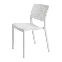 Resol - Resol Trama White Side Chair - The main characteristic in the design of the Trama Chair from the Resol collection is its optic transparency that provides lightness in a visual and also in a physical way due to the disposal of the back perforations. This modern polypropylene and fibre glass injected chair with UV protection is suitable for any indoor and/ or outdoor ambiance. The weight of this stackable chair is of 8.80 pounds. It has been designed by Josep Llusca Resol was born more than 50 years ago and has since become a benchmark in the field of plastics processing statewide. In the beginning they were noted for having the most comprehensive range of refrigerators and veneer.  They currently stand as a manufacturer of plastic products with high added value in design innovation and technology while the processes of developing manufacturing and marketing of indoor and outdoor furniture to lead and process engineering thermoplastics injection.  With an international focus its products and services are present in more than 100 countries worldwide. They feature the most extensive range of furniture for the hospitality sector and are leaders in products for mass distribution and Furniture Design through the Barcelona brand Dd which have the collaboration of prestigious international designers like Josep Lluscà or Joan Gaspar.  SOLVE consists Olot Resins business (furniture products in own brands) and PLASFUR (technical plastic injection for others).