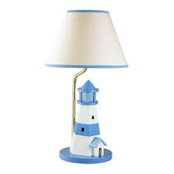 Cal Lighting - Juvenile Light House w Night Light Lamp in Blue & White - Requires 60W bulb (not included). Lighthouse with night light lamp. Blue & White finish. Height: 21 in.. Base: 7.5 in.. Weight: 2.86 lbs.