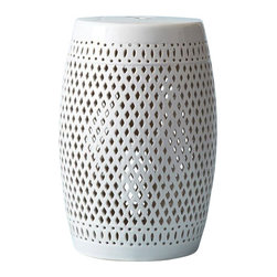 "Two's Company - Seville White Garden Stool - Ceramic - Features: Material: Ceramic.Inspired by nature's sea life and is a welcome addition to any decor.18.75"" H x 10.5"" W, 16.04 lbs. Color/Finish: Color: White. Collection: La Mer collection."